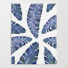 Tropical Banana Leaves Blue #society6 #buyart Poster