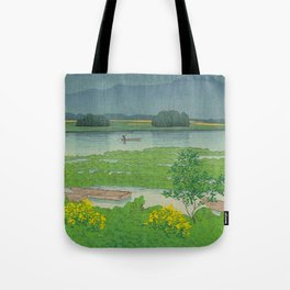Kawase Hasui Vintage Japanese Woodblock Print Flooded Asian Rice Field Mountain Parallax Landscape Tote Bag