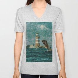 Vintage Painting of a Coastal Lighthouse (1895) Unisex V-Neck