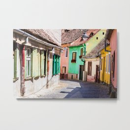 Multi Coloured Cottages Metal Print