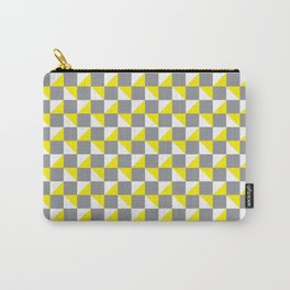 Grey Yellow and White Geometric Pattern Carry-All Pouch
