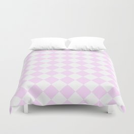 Diamonds - White and Pastel Violet Duvet Cover