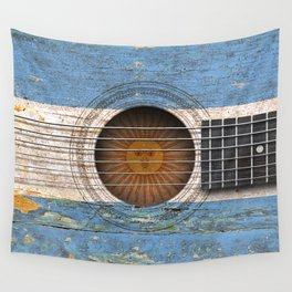 Old Vintage Acoustic Guitar with Argentine Flag Wall Tapestry
