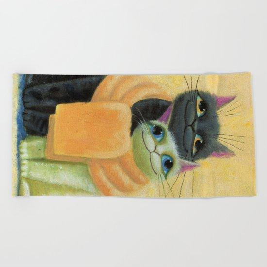 cat play Beach Towel