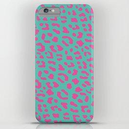Leopard skin teal iPhone Case