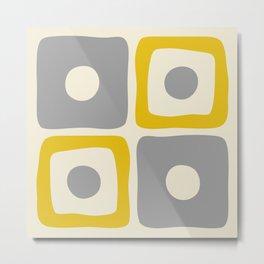 Mid Century Modern Square Dot Pattern 592 Yellow and Gray Metal Print