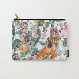 Cat and Floral Pattern III Carry-All Pouch