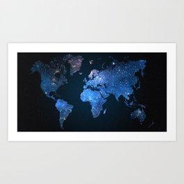 Star World Map Art Print