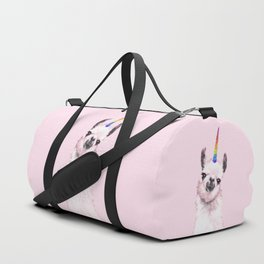 Unicorn Llama in Pink Duffle Bag
