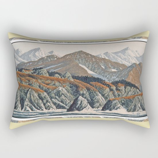 WILDERNESS SHORELINE IN AUTUMN VINTAGE OIL PAINTING Rectangular Pillow
