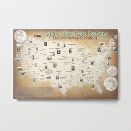 Map of tribal Nations in north America Metal Print