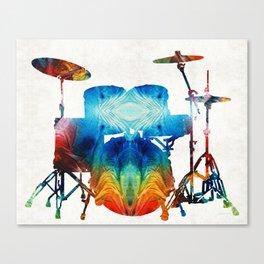 Drum Set Art - Color Fusion Drums - By Sharon Cummings Canvas Print