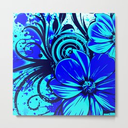 Black and Blue Flowers Metal Print