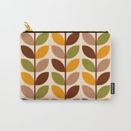 Retro 70s geometric leaves branches brown orange Carry-All Pouch