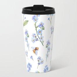 Cute hand painted brown bee lavender watercolor floral Travel Mug