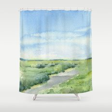 Sky and Grass Landscape Watercolor Shower Curtain