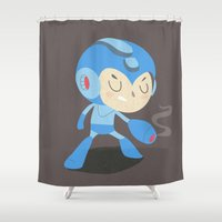 megaman Shower Curtains featuring Mega Man by Rod Perich