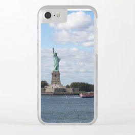Lady Liberty at the harbor Clear iPhone Case