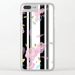 Floral Stripe Clear iPhone Case