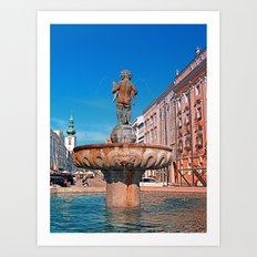 Naked boy bum on the water Art Print