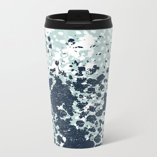 Izzie - abstract painting navy mint white trendy color palette summer bright decor Metal Travel Mug