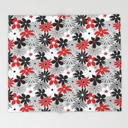 Funky Flowers in Red, Gray, Black and White Throw Blanket