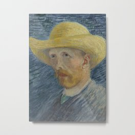 Self Portrait with Straw Hat Metal Print