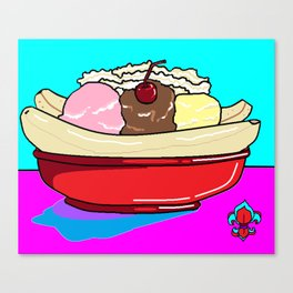 A Delicious Banana Split on a Hot Summer Day Canvas Print