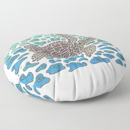 Vanishing Sea Turtle by Black Dwarf Designs Floor Pillow