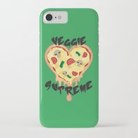 vegetarian iPhone & iPod Cases featuring Veggie Supreme - Deluxe Vegetarian Heart Shaped Pizza  by MagicCircle