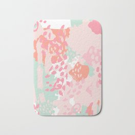 Billie - abstract gender neutral trendy painting soft colors bright happy nursery baby art Bath Mat