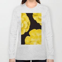 Large Yellow Succulent On Black Background #decor #society6 #buyart Long Sleeve T-shirt