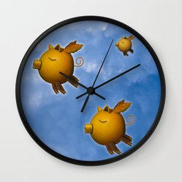 Pig can fly Wall Clock