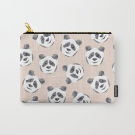 Cute Black White Pink Watercolor Panda Pattern Carry-All Pouch