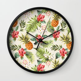 pineapple with tropical flower Wall Clock