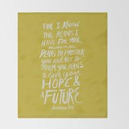 Jeremiah 29: 11 x Mustard Throw Blanket