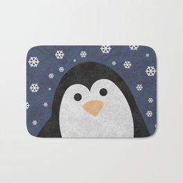 Christmas Penguin Marble Bath Mat