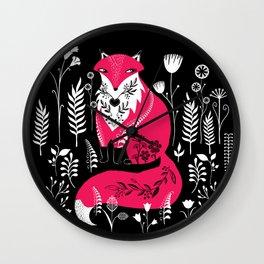 Dancing Forest Woodland Folk Fox Wall Clock