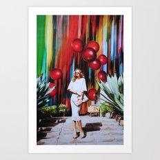 Red Berry Joy Town Art Print