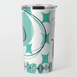 Mid-Century Modern Atomic Art - Teal - Cat Travel Mug