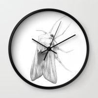 moth Wall Clocks featuring Moth  by Bonnie Durham