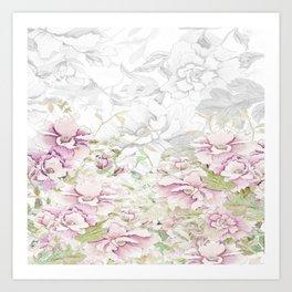 Watercolor Peony border sketch print pink Art Print