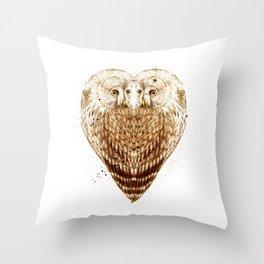 Owl Heart Throw Pillow