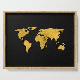 Metallic Gold Foil World Map On Black Serving Tray