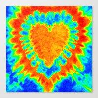 tye dye Canvas Prints featuring TYE DYE HEART by TMCdesigns