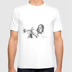 Louis Armstrong, Satchmo or Pops MEDIUM White Mens Fitted Tee