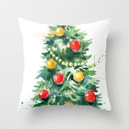 Christmas Tree Watercolors Illustration Throw Pillow