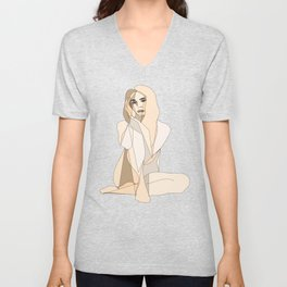 Mosaic Woman Nude Girl Abstract Drawing Unisex V-Neck