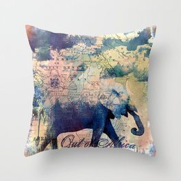 Elephants Journey Throw Pillow