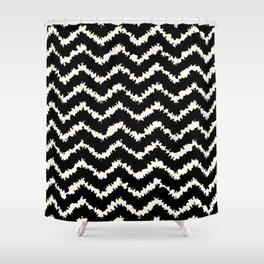 Ragged Chevron - Black/Cream Shower Curtain